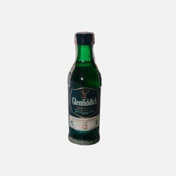 whisky glenfiddich 12 años miniatura 50ml piragua full compra