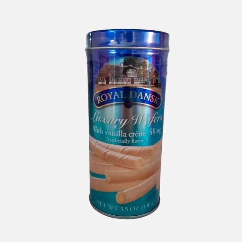 Galleta Barquillo Vainilla Royal Dansk Lata X 100 g piragua full compra